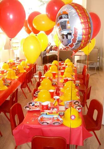 Fireman theme party decorations
