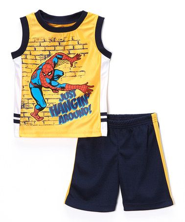 This Yellow Spider-Man Tank & Shorts - Boys is perfect! #zulilyfinds