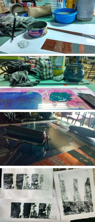 Laura Kozma: PRINTING Project - day 1 …first try carborundum