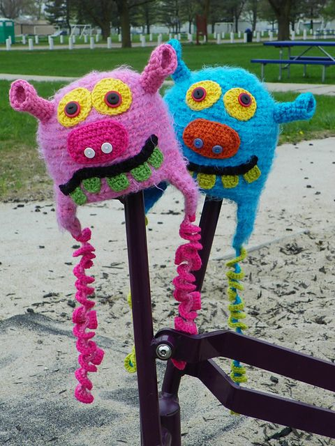 Here is a pic of my silly monster hats playing at the park ...