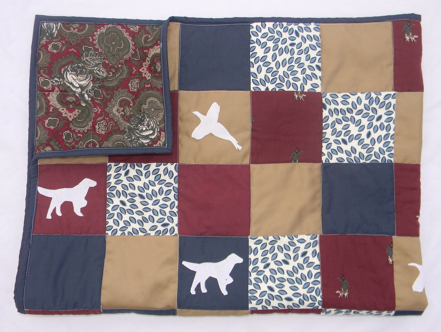Handmade patchwork quilt personalized blanket for baby crib homemade boy baby quilt hunting dog pheasant navy blue khaki burgundy baby blanket negle Image collections