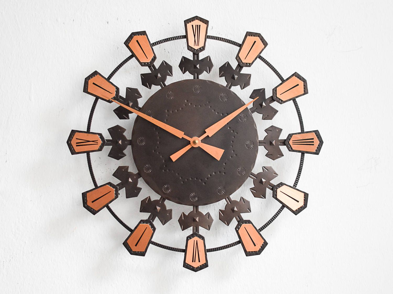 Rote Küchenuhr ~ Wooden wall clock wooden clock 90s clock vintage wall clock