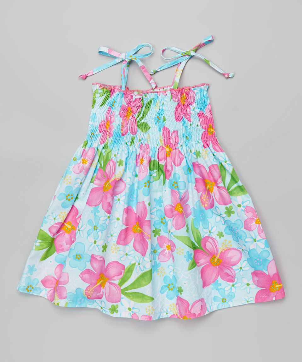 Another great find on #zulily! Aqua & Pink Hibiscus Shirred Dress - Toddler & Girls by RJC Girls #zulilyfinds