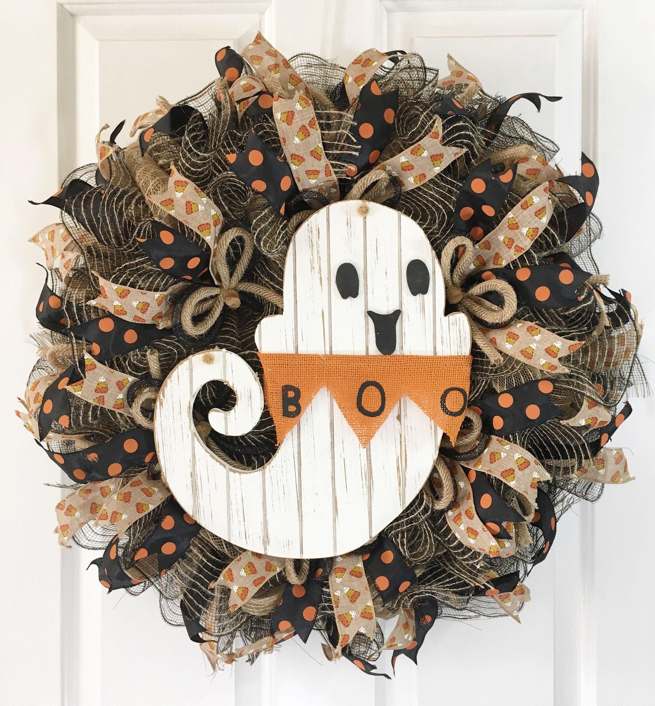 Photo of Halloween wreath, ghost wreath, rustic wreath, country wreath, country wreath, front door wreath,