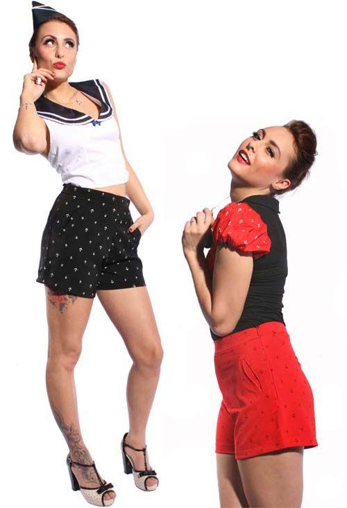 Tolle figurbetonte Shorts im 50er Jahre Style mit hohem Bund. Ein ...