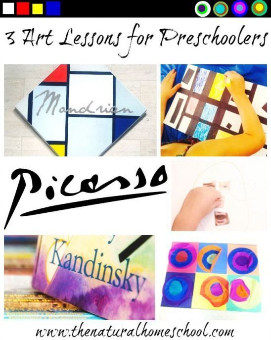 3 Art lessons for preschoolers are on our interpretations of Pablo Picasso Piet Mondrian and Wassily Kandinsky works of art. I hope you will enjoy these and be inspired to make some of these with your littles.