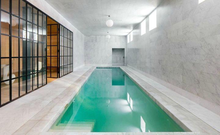 nice indoor lap pool designs #5: contemporary indoor lap pool with glass door