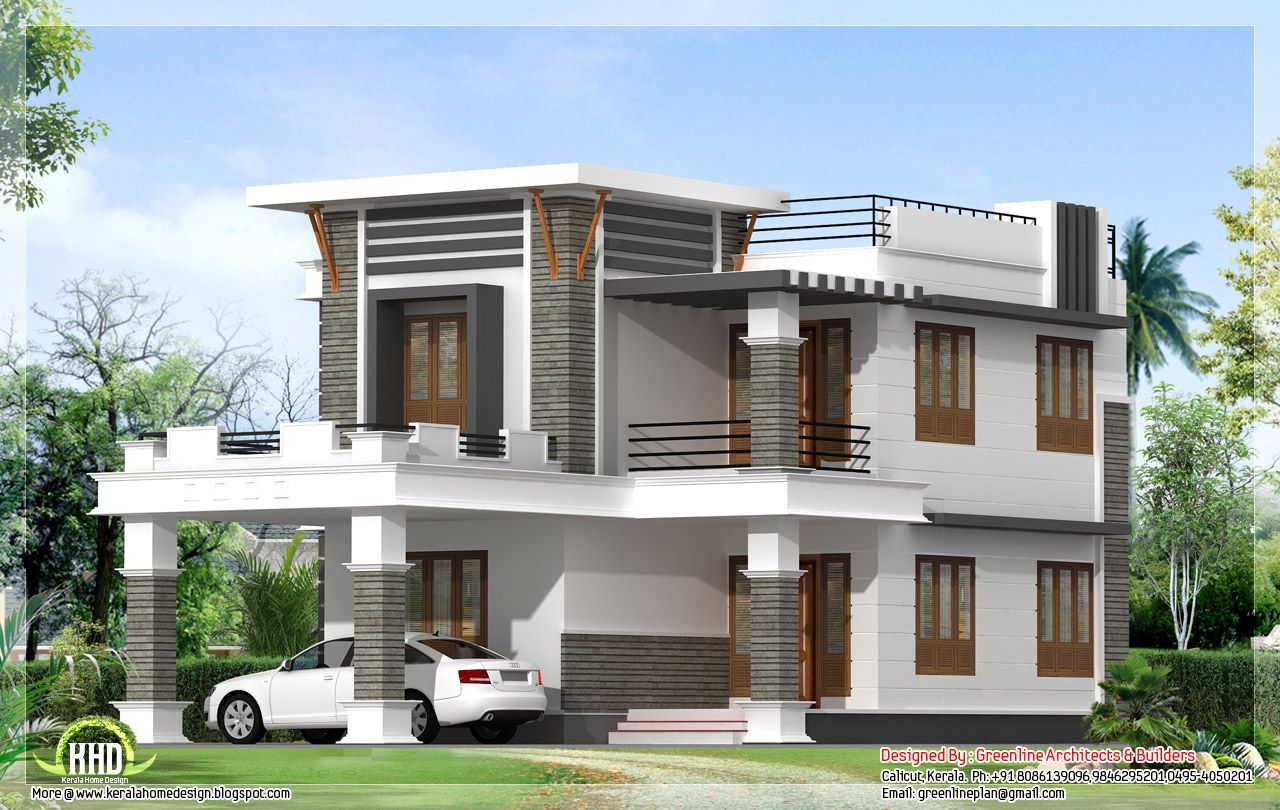 October kerala home design floor plans modern house plans for Flat exterior design