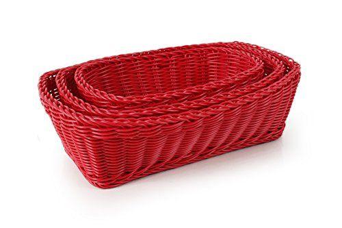 Neoflam 3 Piece Plasket Poly Wicker Rectangle Baskets Set