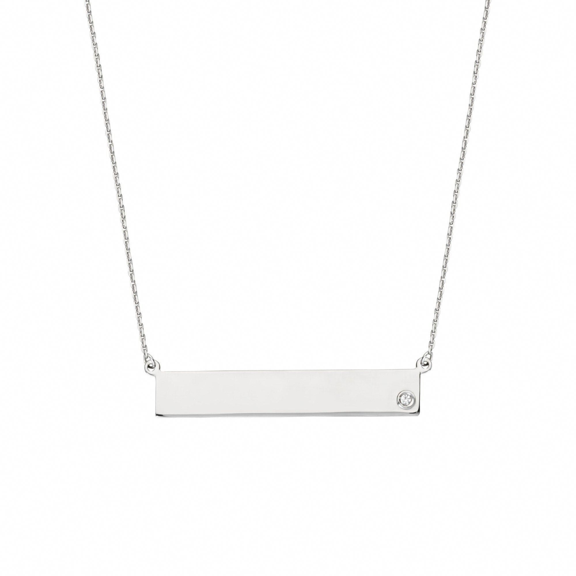 Sterling silver nameplate necklace with bezel set cz this