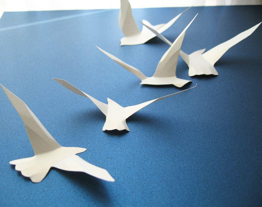 3D 45 White Paper Birds, 3D Wall Decor, 3D Wall Art ...