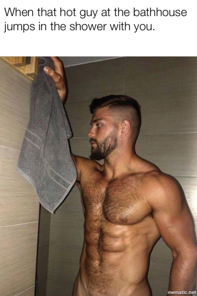 shower Gay men long haired