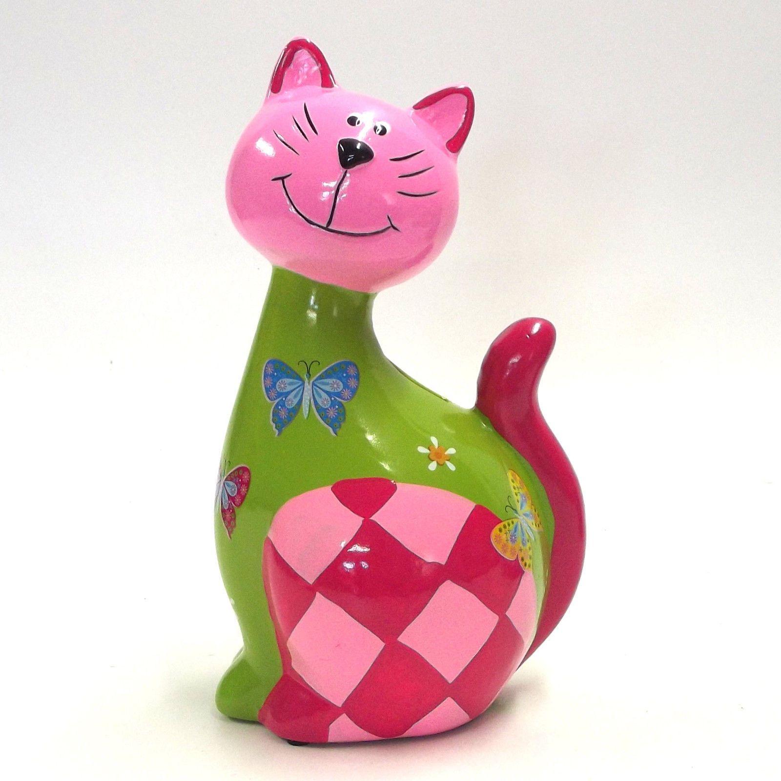 Cat Kitty Kitten Ornament Statue Money Box Pink Ceramic Garden Sculpture Art   eBay