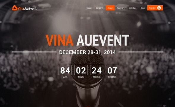 Vina AuEvent v104 - One Page Event and Conference Template - event templates free