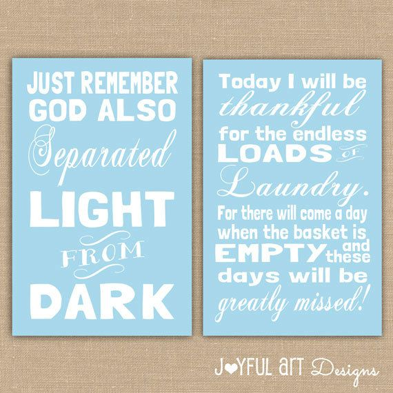 Laundry Room PRINTABLE Signs Set Of 2 Separate Dark And Light