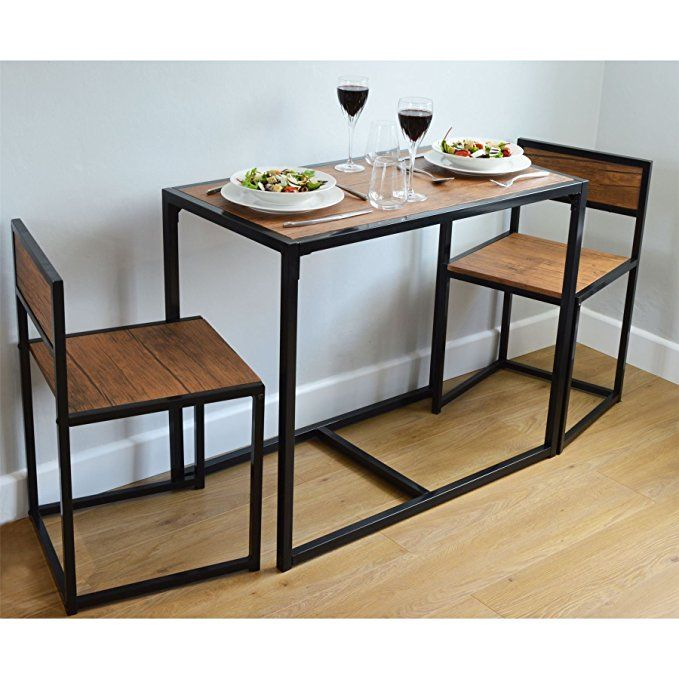 Perfect Harbour Housewares 2 Person Space Saving, Compact, Kitchen Dining Table U0026  Chairs Set:
