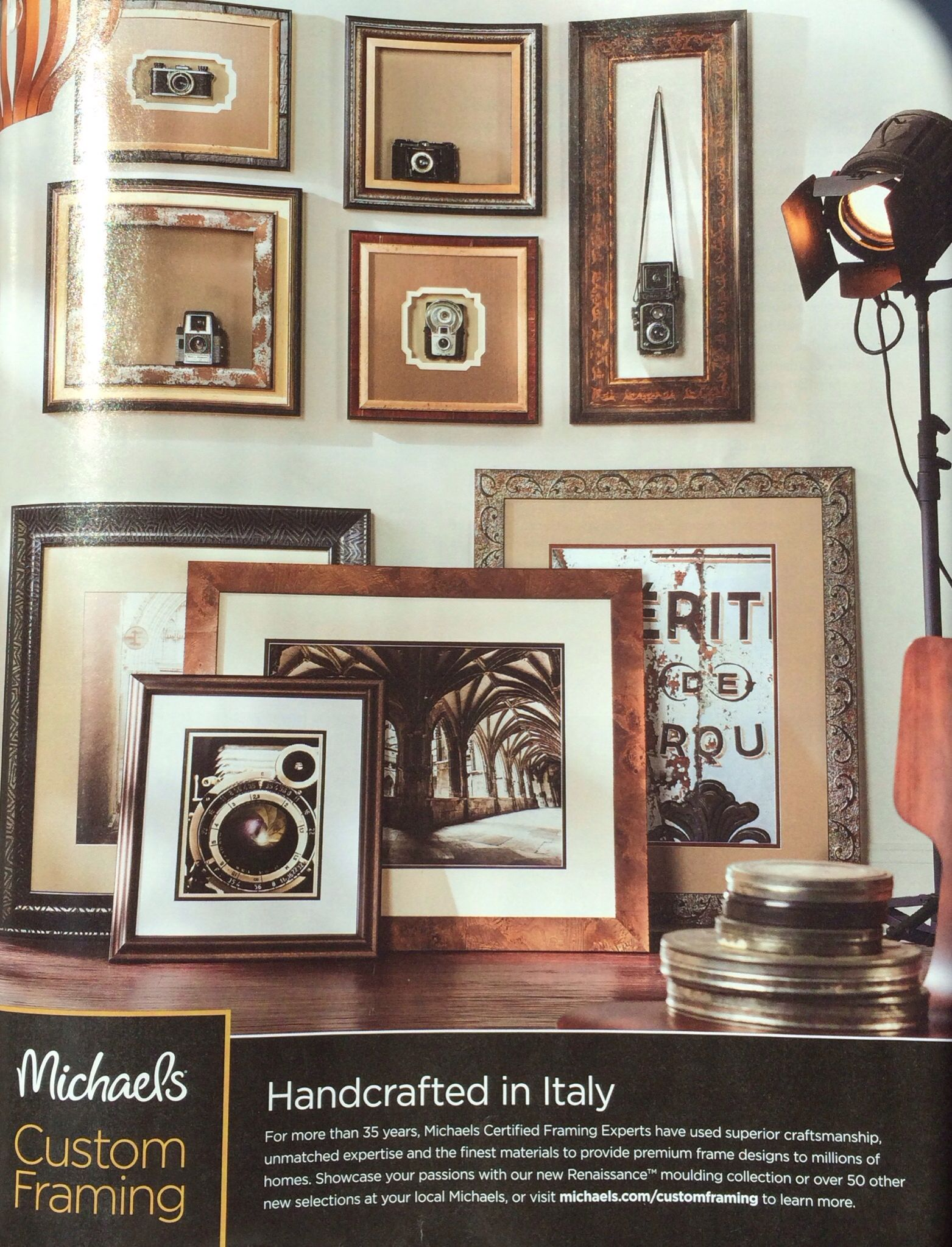 display old cameras in frames or hanging on a hook with a frame around michaels custom framing ad as seen in may - Michaels Custom Framing Prices