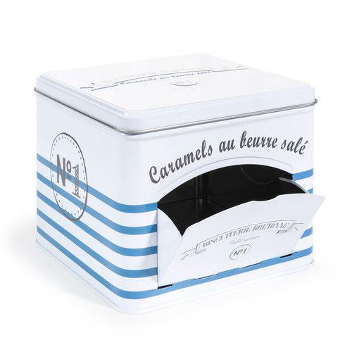 Scatole per caramelle bianca e blu H 12 cm MARINIERE