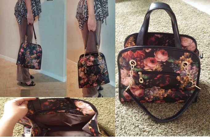 The floral design is beautiful and consistent. I was worried that it might look and feel cheap since its vinyl but that was not the case. I was actually surprised. The purse itself is super roomy with multiple pockets and measures approximately 13 inch x 11 inch. The purse has three handle options: a short handle, a longer handle, and a strap with gold trimmings on it.  #StarReviews #purse #bag #floral #Vmate #cutepurse #retro #classy #ad #discounted #tote