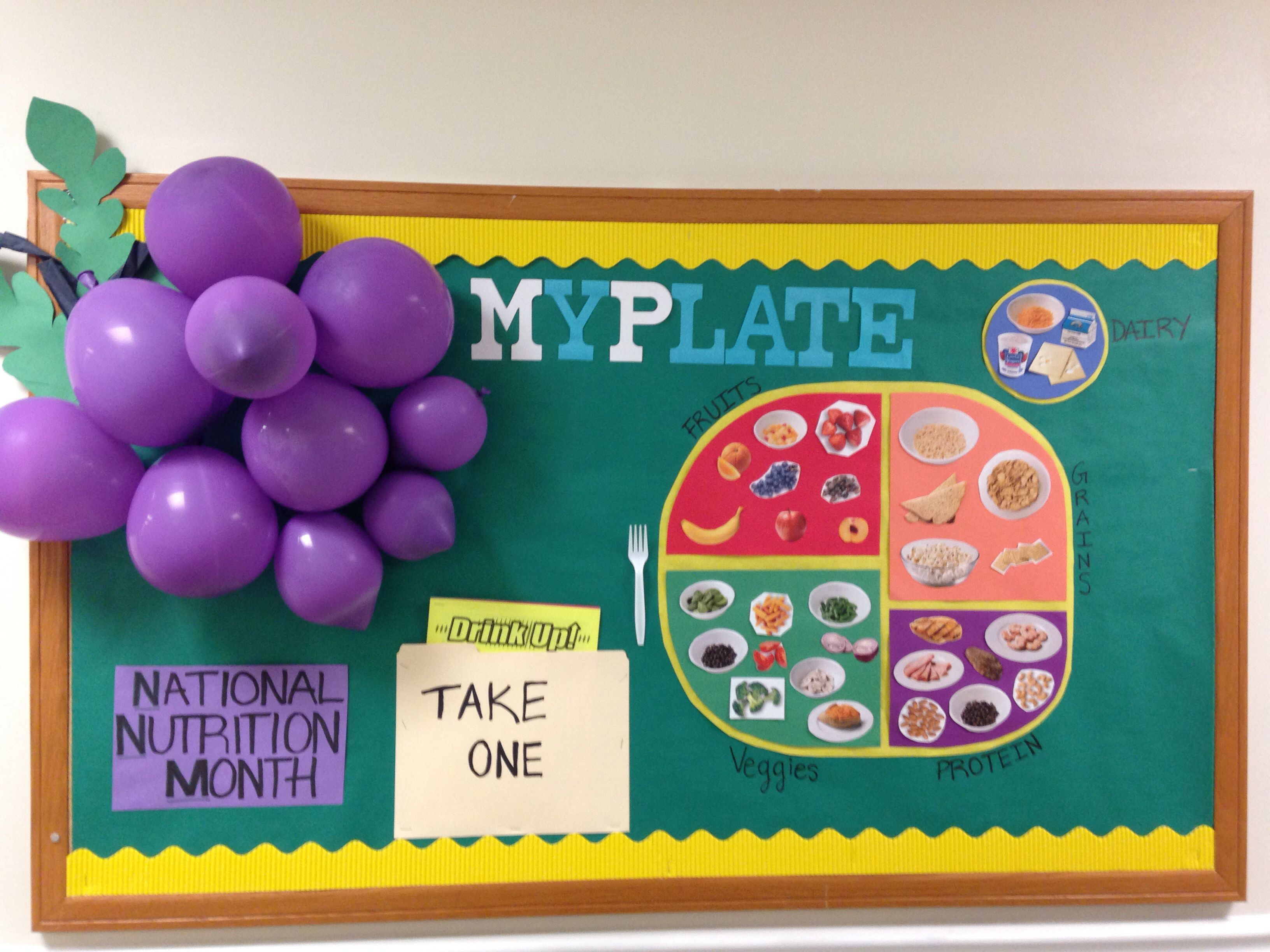 National Nutrition Month Bulletin Board Myplate Cafeteria Bulletin Boards School Cafeteria School Cafeteria Decorations