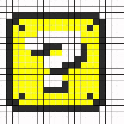 Mario Question Box Perler Perler Bead Pattern | Bead Sprites | Misc Fuse Bead Patterns