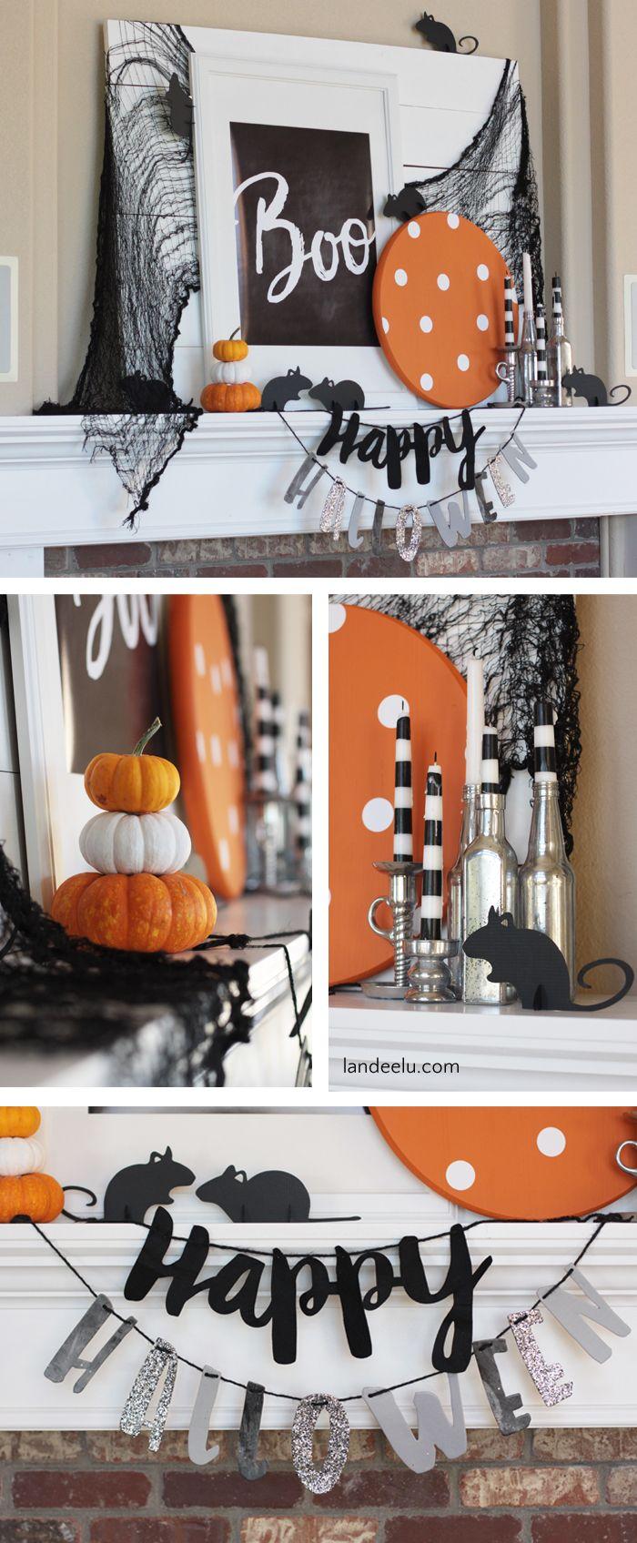 boo halloween mantel with mice - Halloween Mantel Ideas