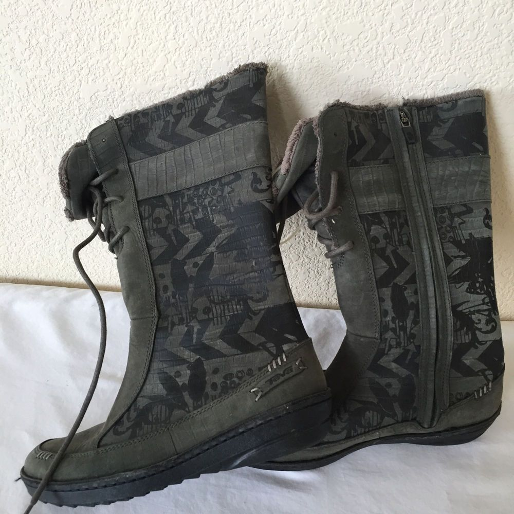 85684c7e51e51e TEVA 4058 WOMENS NEW KIRU Winter BOOTS Army Green Gray PRINT Fur Lined Sz  7.5  Teva  Boots