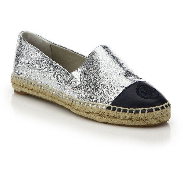 Tory Burch Crackled Metallic Leather Cap-Toe Espadrille Flats featuring  polyvore, women's fashion,