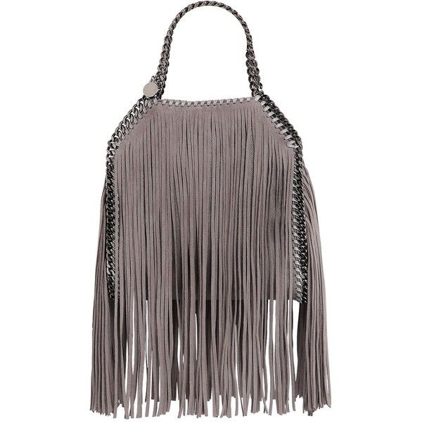 Stella Mccartney Women Mini 3chain Falabella Fringed Faux Deer ($1,400) ❤ liked on Polyvore featuring bags, handbags, shoulder bags, light grey, mini shoulder bag, chain handle handbags, mini handbags, chain shoulder bag and stella mccartney shoulder bag