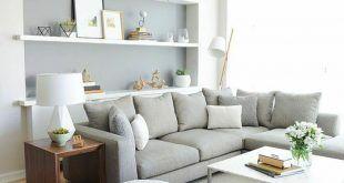 offene wohnzimmer wandregale kombiniert mit wandfarbe graui