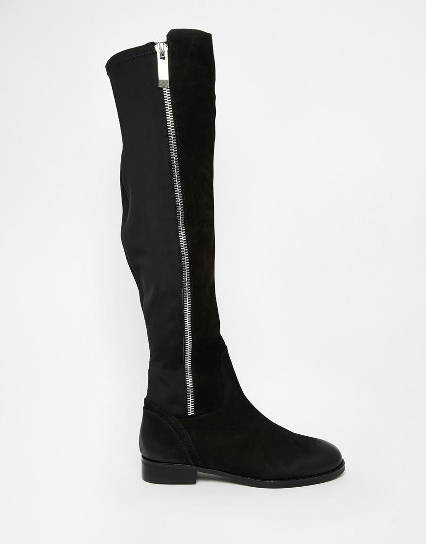 f51ef8bc ALDO | ALDO Dyna Black Leather Exposed Zip Knee Boots at ASOS ...