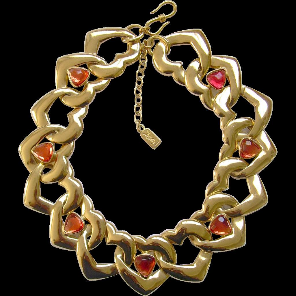 Ysl yves saint laurent ufashion statementu hearts necklace with