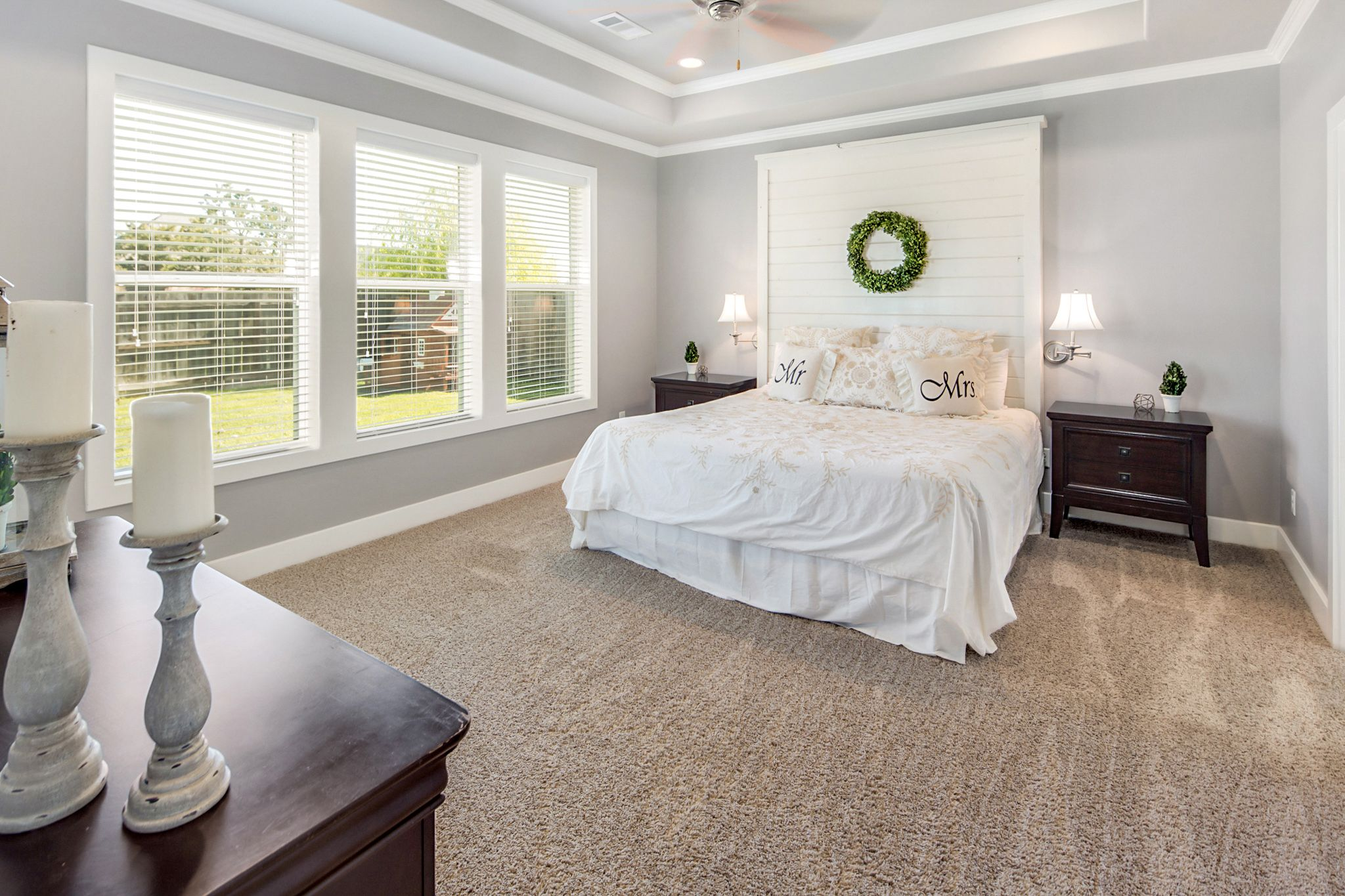 White Master Bedroom White Shiplap Headboard, Grey Walls, Wall Of