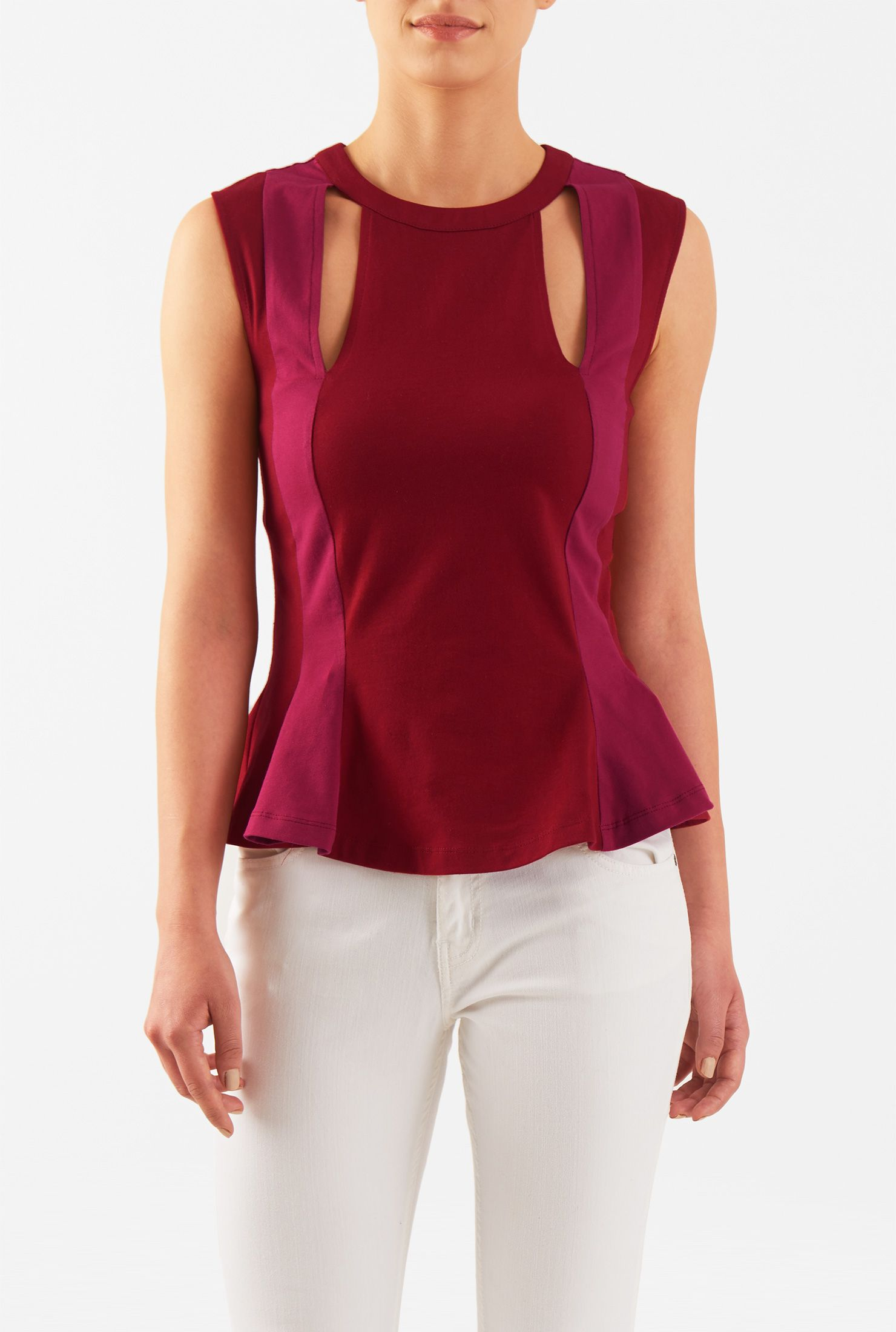 A casual silhouette gets an update with our linear colorblock cotton knit top styled with a banded round neck and flirty keyhole cut-outs below.