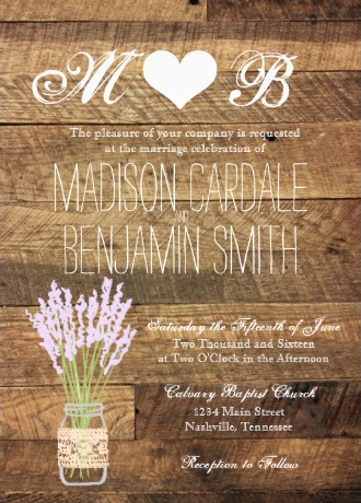 Mason Jar Lavendar Barn Wood Wedding Invitations with the bride and groom's initials at the top with a heart.  Two Sided Design.  40% OFF when you order 100+ Invites.  #wedding #masonjar