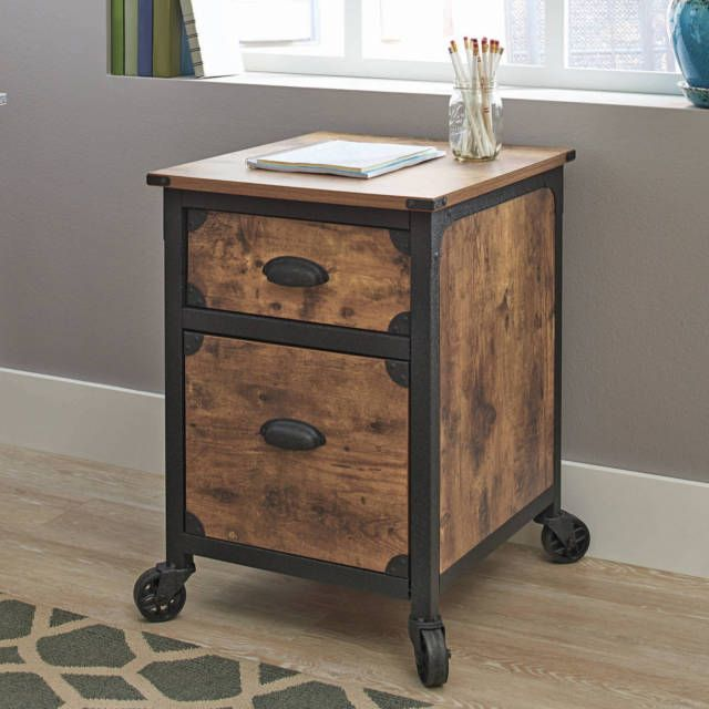 Industrial Rustic Wood Black Metal 2 Drawer File Cabinet Filing