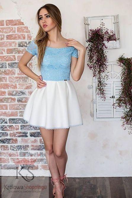 c4c9528866 Rozkloszowana sukienka z niebieską koronką na wesele i na co dzień     fashion4u.pl sukienki koronka