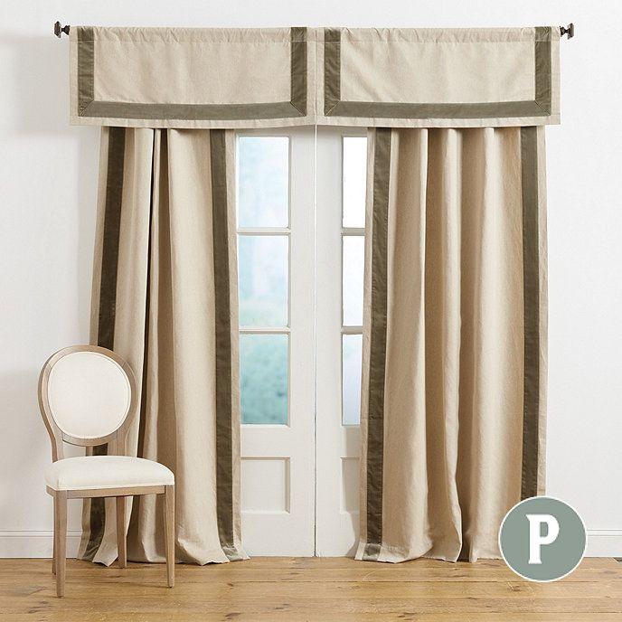 Signature Velvet Trim Linen Panel Custom Drapes Living Room