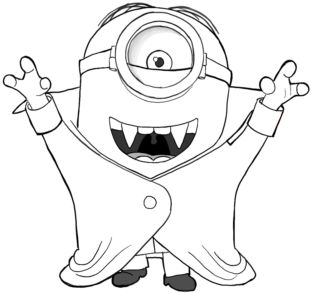 How To Draw Stuart As A Vampire From Minions Movie 2015 Drawing Tutorial   How To Draw Step By Step Drawing Tutorials