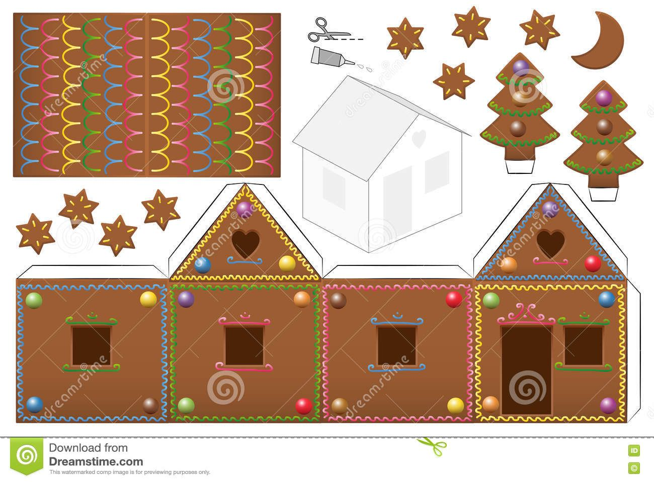 Gingerbread house candies paper model download from over 47 million high quality stock photos