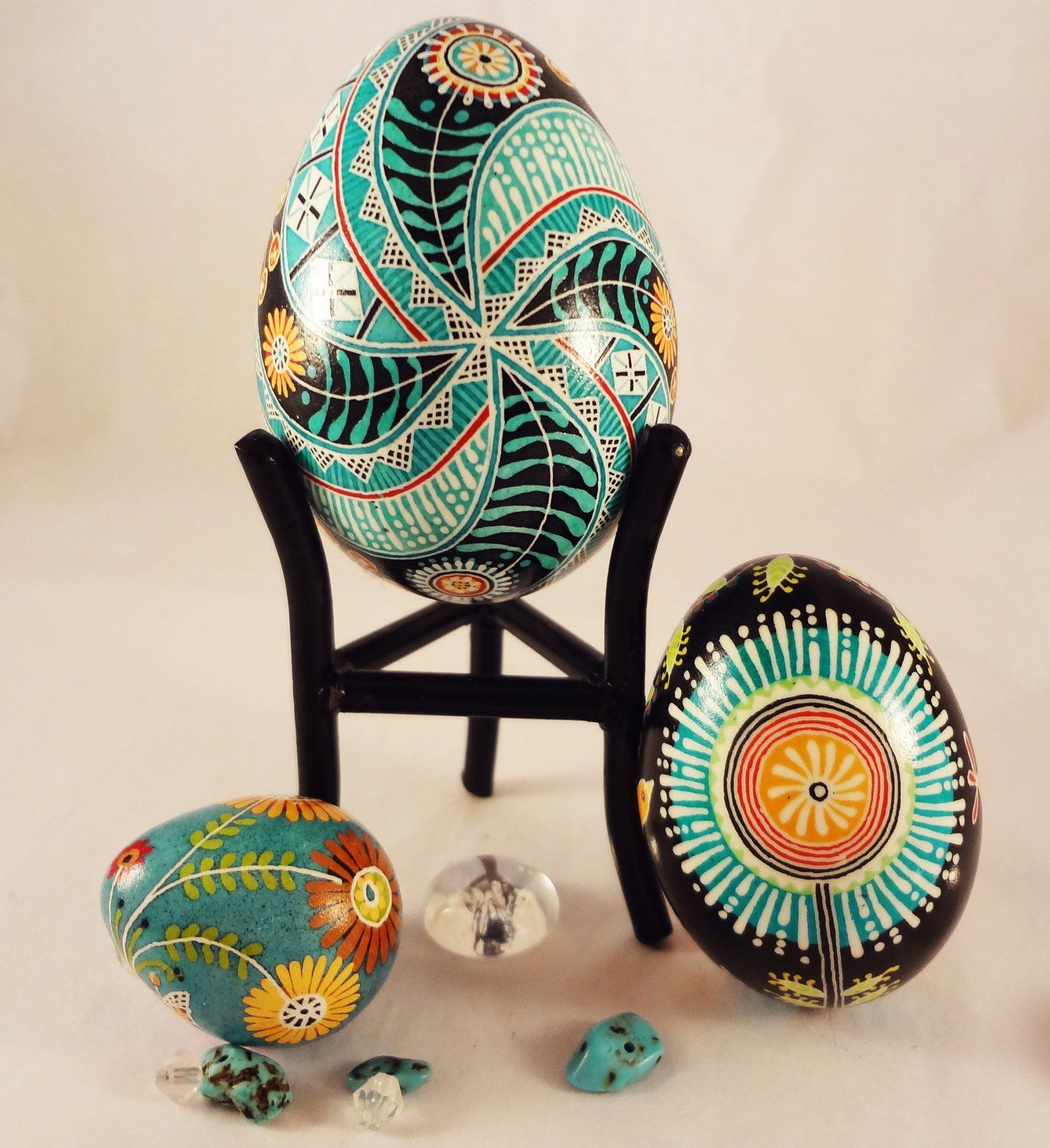 RESERVED FOR JENNIE..Teal Floral Spiral Pysanky, Pysanka