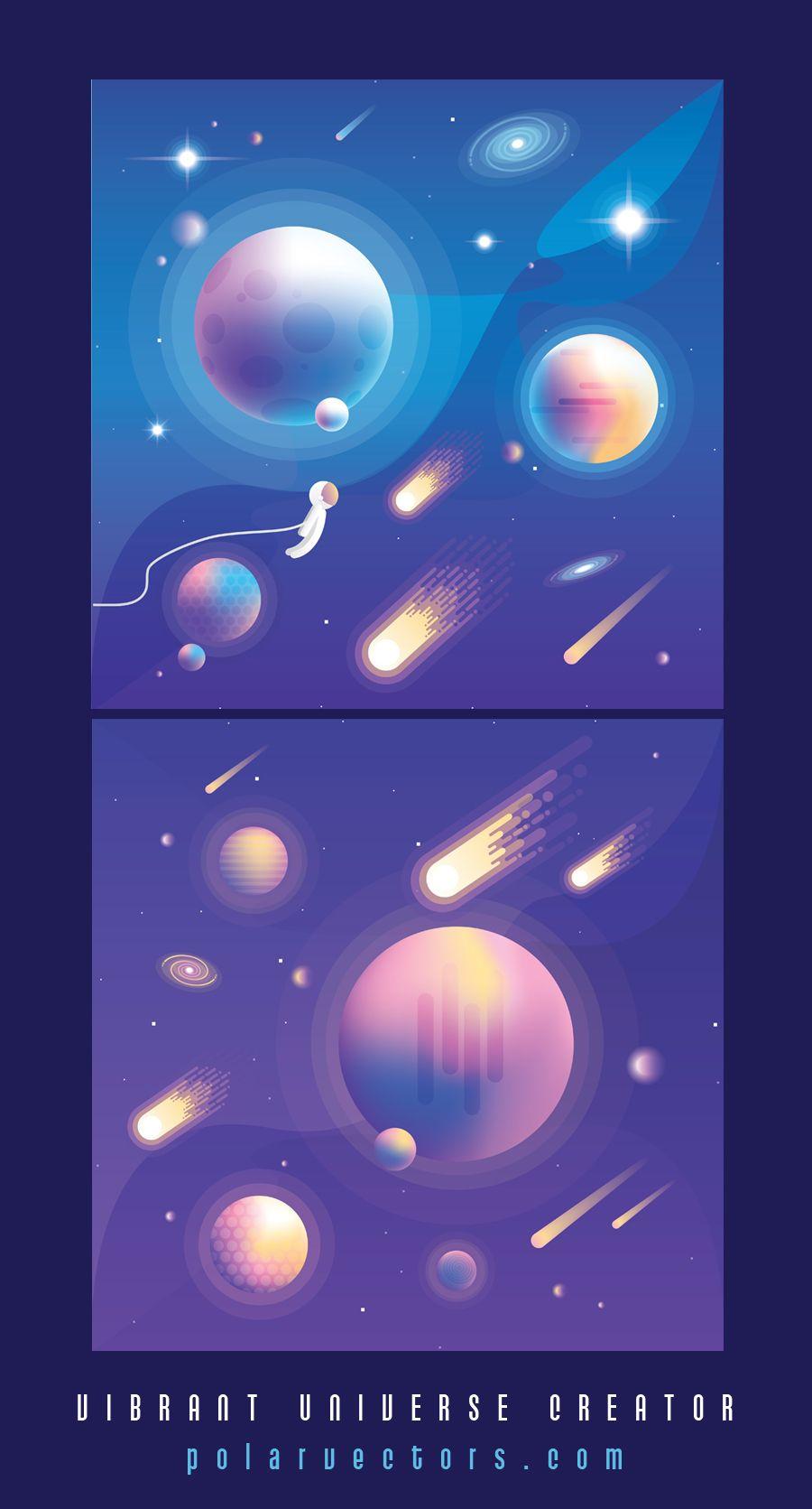 Vibrant Universe Creator Create Your Own Space Adventure Polar Vectors Planet Design Space Art Space Illustration