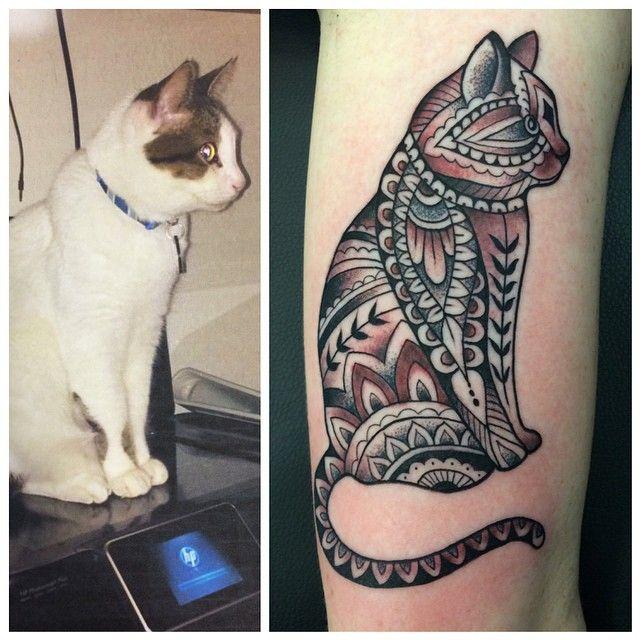Karina Figueroa On Instagram Cat Portraits On Janieski Mehndicat Cattattoo Dotwork Blvckink Blackworkers Blac Unique Tattoos Tattoos Geometric Tattoo