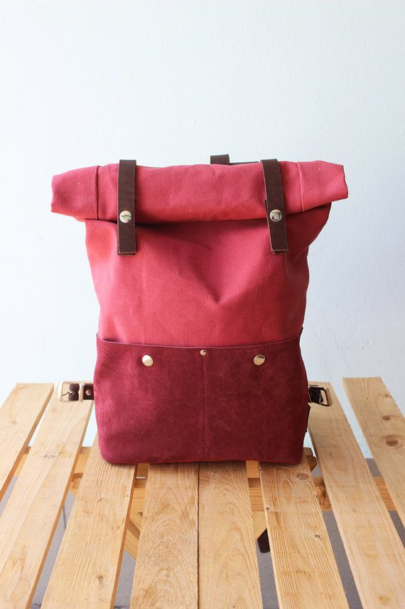 Waxed Canvas Backpack Rolltop with brown leather details, Waxed Canvas Rucksack Roll top, wine color