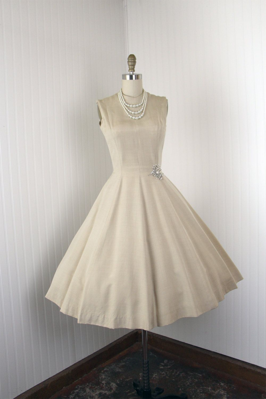 1950s Dress Vintage 50s Dress Nude Silk Wedding Party