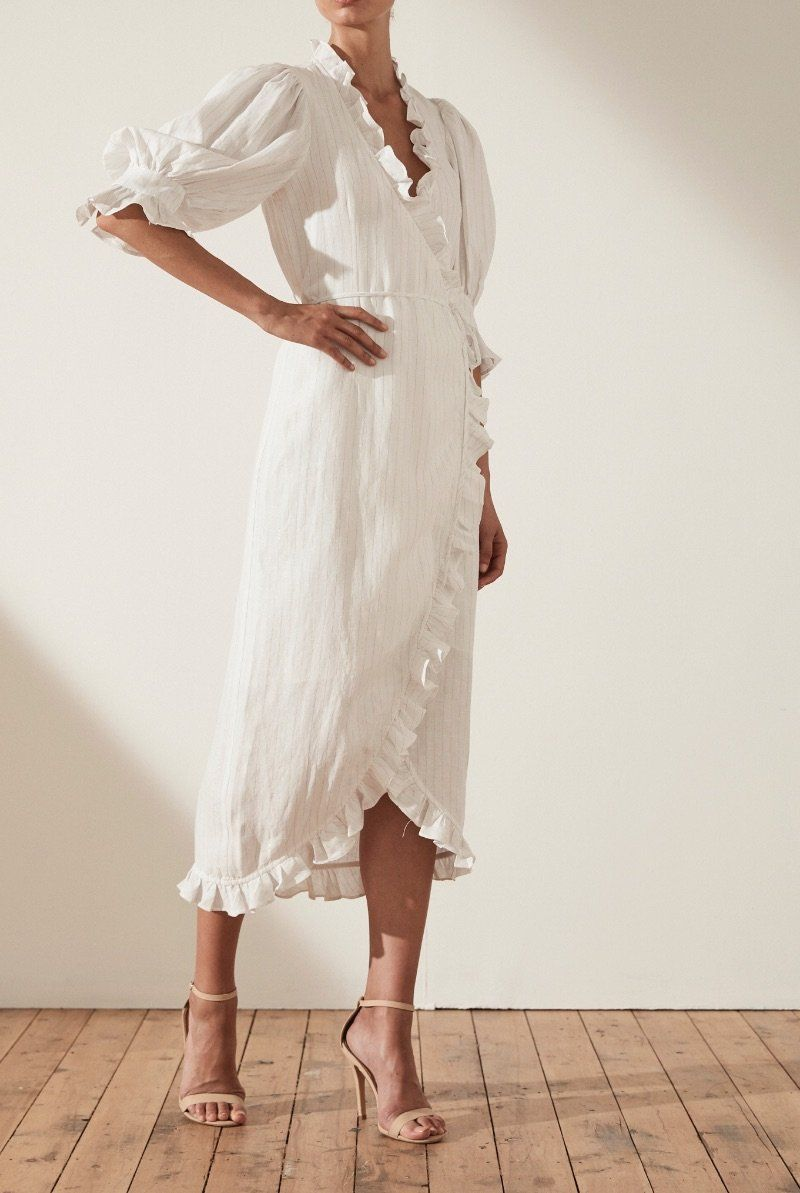 Holden Linen Puff Sleeve Wrap Midi Dress Wrap Midi Dress Midi Dress Linen Wrap Dress [ 1193 x 800 Pixel ]