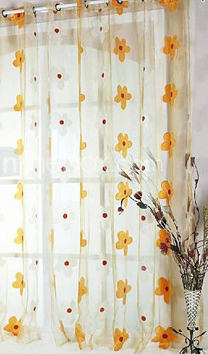 79 99 One Panel Yellow Flower Sheer Curtain Yellow Curtains