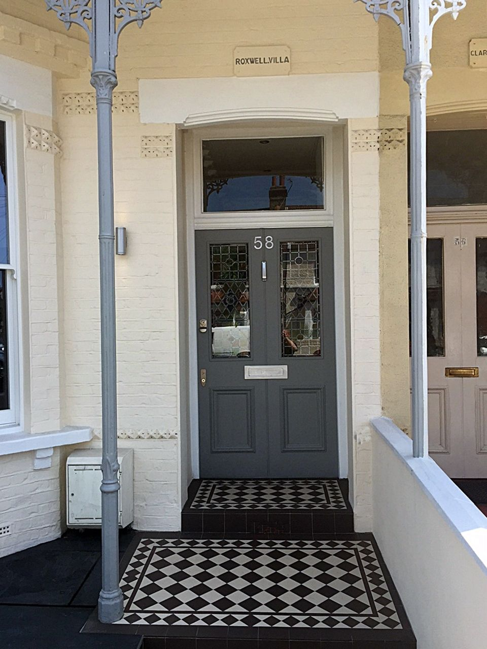 Victorian steps and porch tiles grey and white front for Edwardian tiles for porch