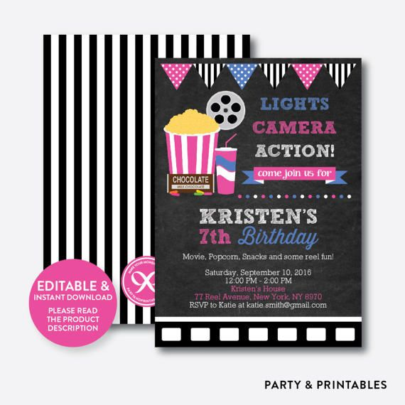 Instant Download, Editable Movie Birthday Invitation, Movie - free printable movie ticket invitations