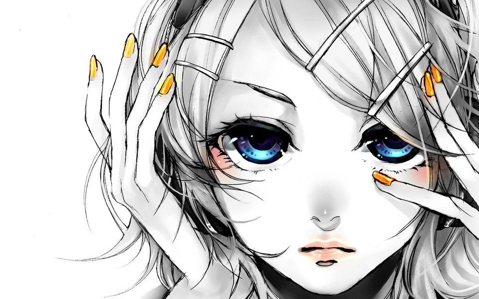 Butterfly on my right shoulder 鏡音リン Anime eyes, Anime